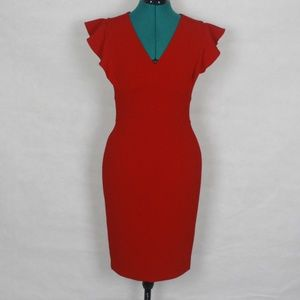 DKNY V-neck Scuba Sheath Dress Scarlet 2
